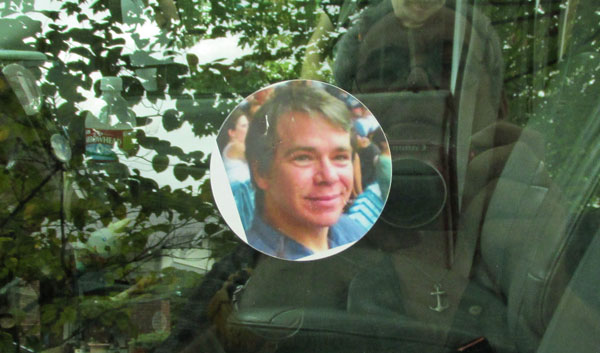 sticker of doug rockett on portside porthole of the boat in memphis, tn on october 3, 2014