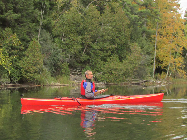 heimo paddling on the otter river in middlebury, vt on october 11, 2014