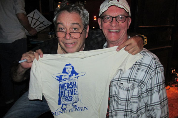 watt + gig-goer w/minutemen tour shirt w/d. boon-drawn design in louisville, ky on october 3, 2014