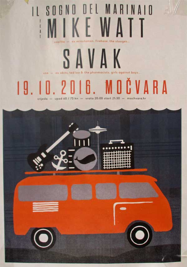 poster for il sogno del marinaio gig at club mochvara in zagreb, croatia by darko kujundzic on october 19, 2016