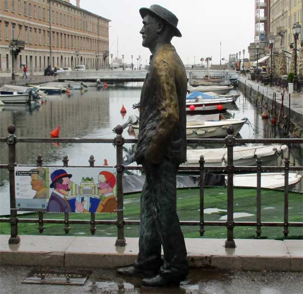 the james joyce statue on the ponte rosso in trieste, italy on october 18, 2016