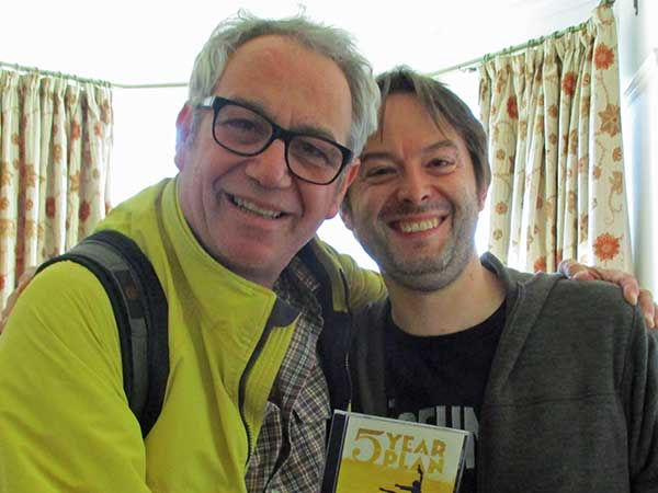 mike watt w/james pennock at his pad in sheffield, england on october 3, 2016