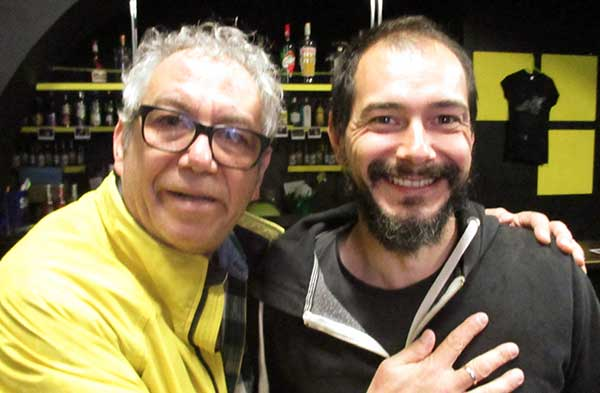 mike watt + marco matta (l to r) at tetris in trieste, italy on october 18, 2016