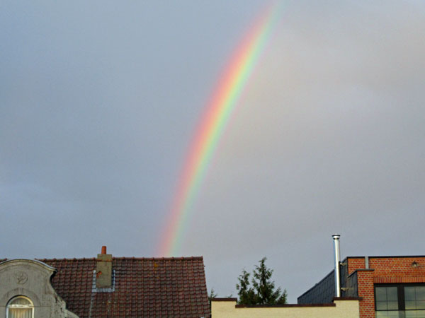 rainbow in eeklo, belgium on october 1, 2016