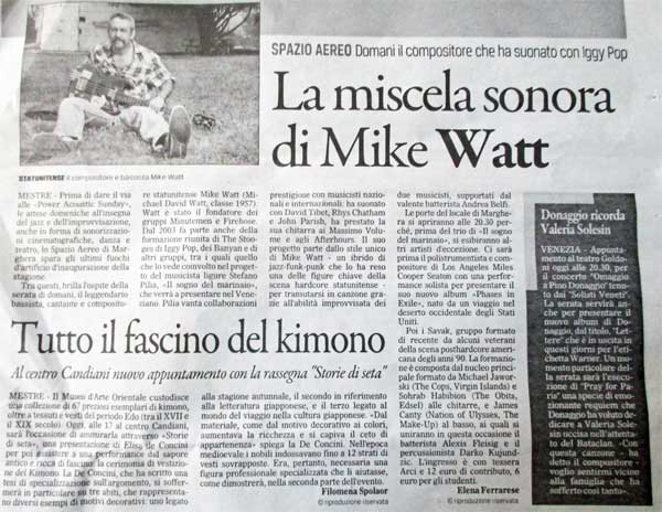 article in local paper mike watt saw upstairs at spazio aereo in mestre, italy on october 16, 2016