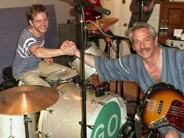 sam dook and mike watt (l to r) of cuz in brighton, england on june 12, 2008 for first cuz recording