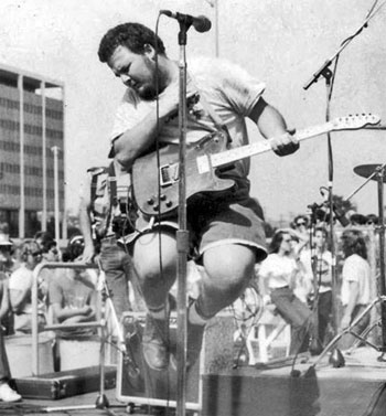 d boon leaping at the 1984 'street scene' in downtown l.a.