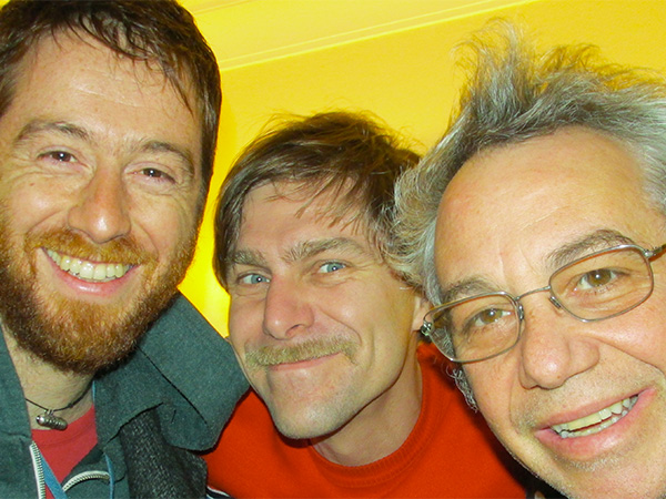 stefano pilia, andrea belfi + mike watt (l to r) march 10, 2013 in 'tel near heathrow airport