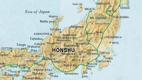map of honshu, japan