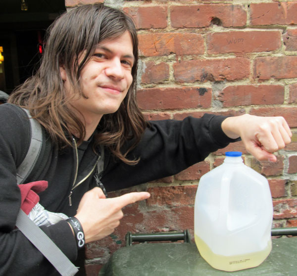 tera melos drummerman john clardy with a jug he pissed in on april 9, 2012
