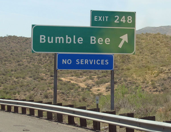 offramp for the town of bumble bee off of I-17 in arizona