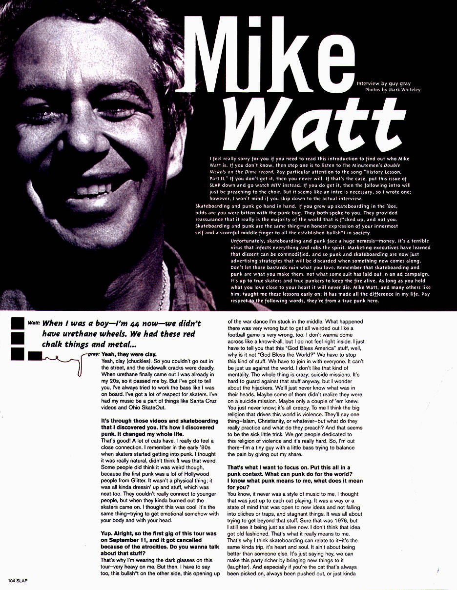 slap skateboard magazine interview w/watt - first page