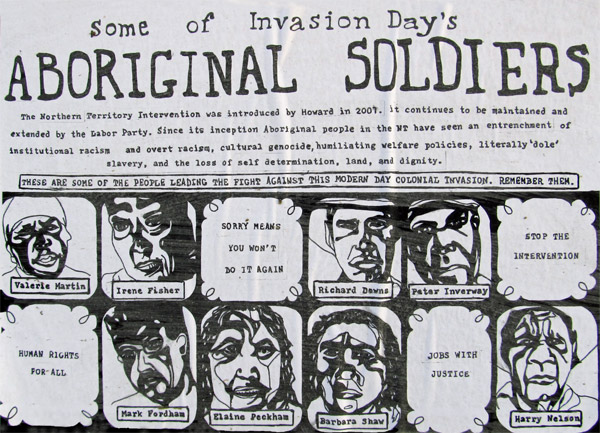 aboriginal soldiers poster pasted up in an alley