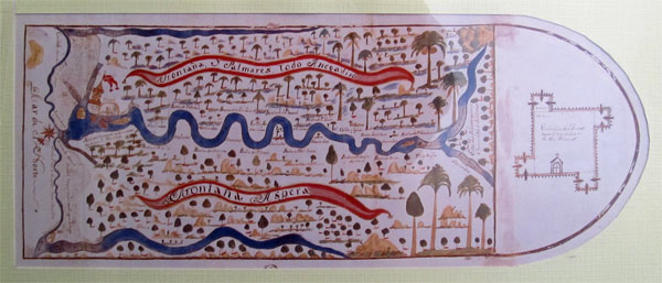 early map from the archivo general de indias in seville, spain