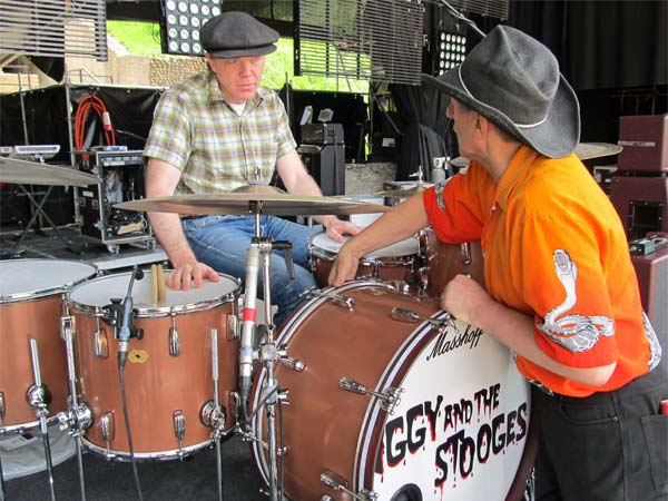 larry's new drum set with jos in avenches, switzerland on august 2, 2012