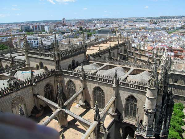 rooftop of saint mary's cathedral from the giralda in seville, spain