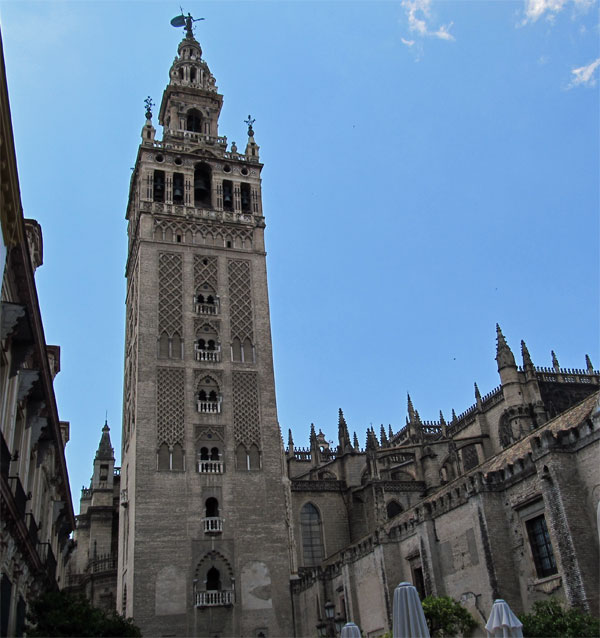 the giralda and saint mary's cathedral in seville, spain