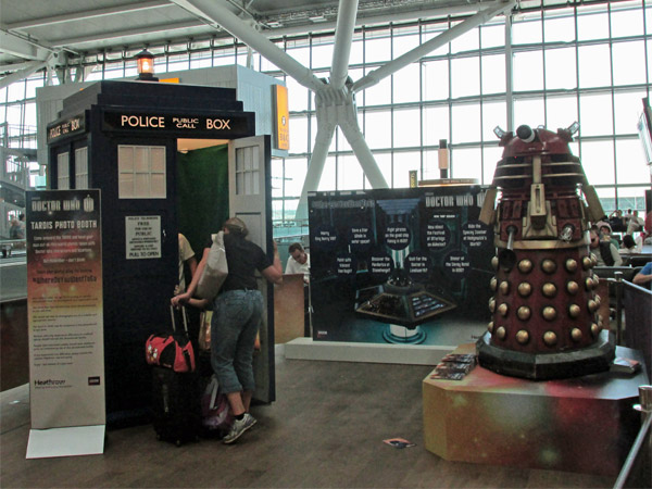 doctor who exhibit at london heathrow airport,  on august 1, 2013