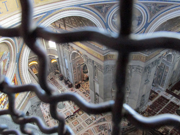 inside saint peter's basilica from the cupolo, vatican - july 3, 2013