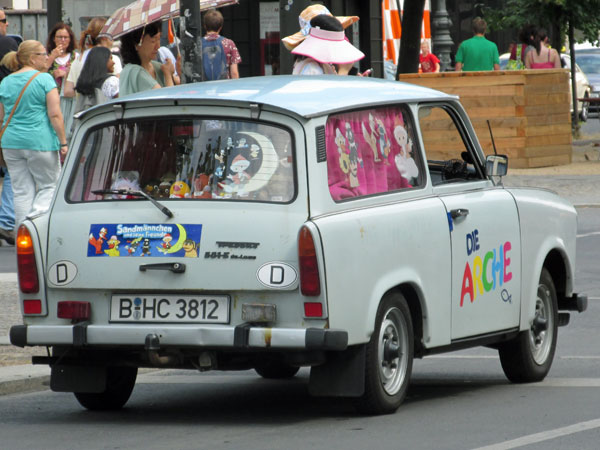 trabant on the street in berlin, germany on august 5, 2013