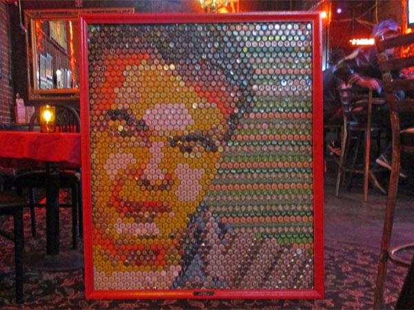 bottle cap portrait of d. boon at dante's in portland, or on october 28, 2015