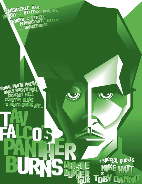 poster for tav falco's 'whistle blower tour 2015'