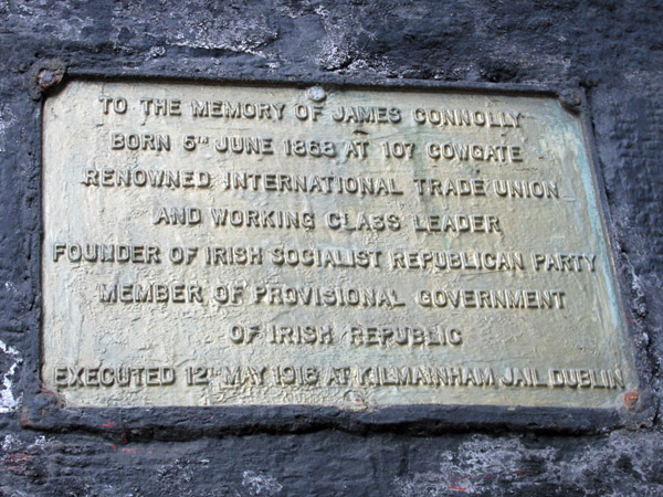 james connolly plaque on cowgate in edinburgh, scotland on april 14, 2014