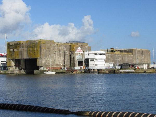 nazi uboat pen across channel from vip club in saint-nazaire, france on feb 26, 2014