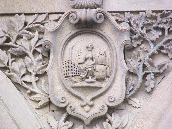 some bas relief on the 'free trade hall' in manchester, england on april 13, 2014