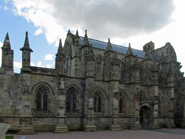rosslyn chapel in roslin, scotland on april 14, 2014