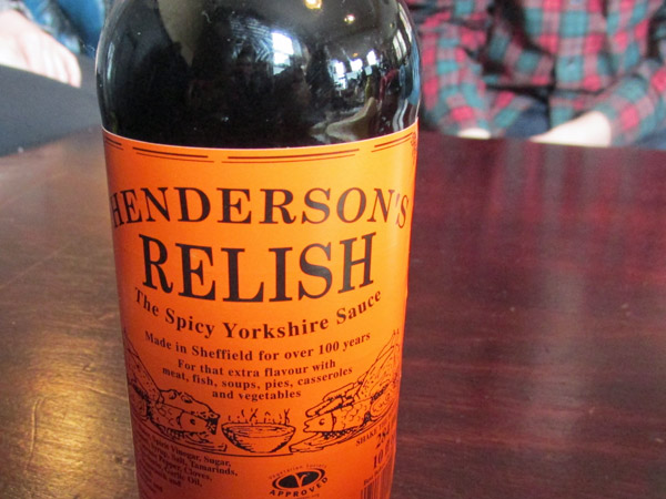 'henderson's relish' spicy sauce at 'the harley' (gigboss max in the background) in sheffield, england on april 17, 2014