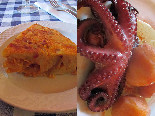 spanish-style tortilla, octopus and potatoes watt chowed at 'as naves' in vigo, spain on march 7, 2014