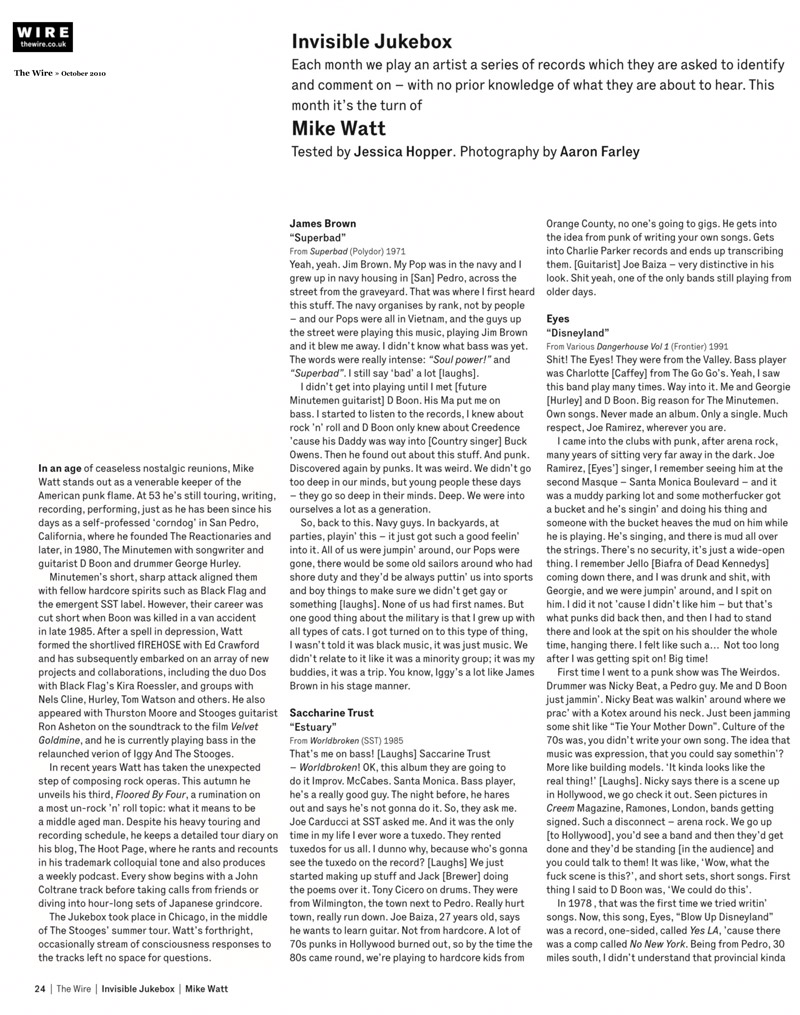 mike watt's 'invisible jukebox' in the wire - october 2010